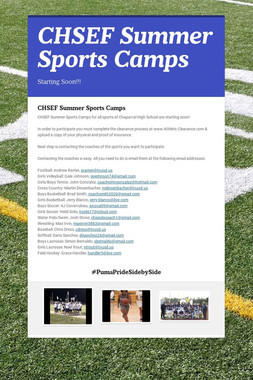 CHSEF Summer Sports Camps