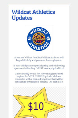 Wildcat Sports Physical