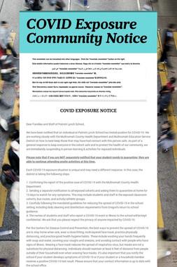 COVID Exposure Community Notice