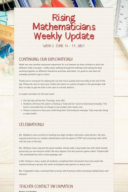 Rising Mathematicians Weekly Update