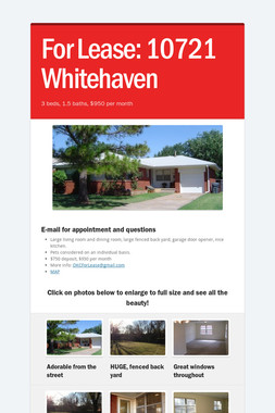 For Lease:  10721 Whitehaven