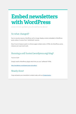 Embed newsletters with WordPress