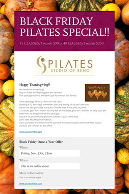 BLACK FRIDAY PILATES SPECIAL!!
