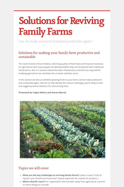 Solutions for Reviving Family Farms