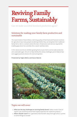 Reviving Family Farms, Sustainably