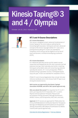 Kinesio Taping® 3 and 4 / Olympia