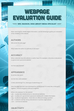 Webpage Evaluation Guide