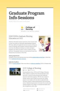 Graduate Program Info Sessions