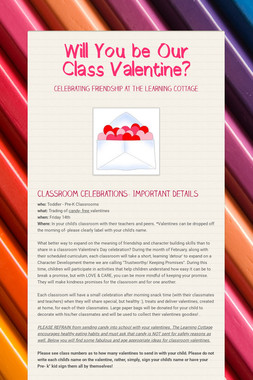 Will You be Our Class Valentine?