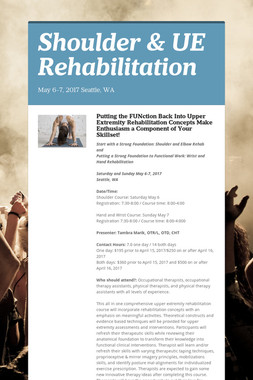 Shoulder & UE Rehabilitation