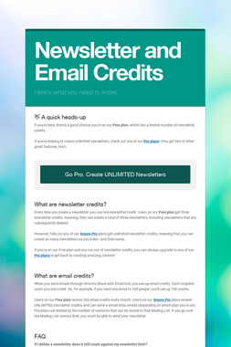 Newsletter and Email Credits