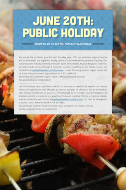 June 20th: Public Holiday