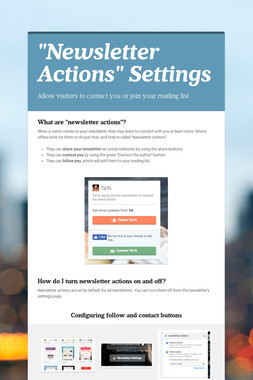 """Newsletter Actions"" Settings"