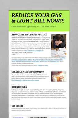 REDUCE YOUR GAS & LIGHT BILL NOW!!!