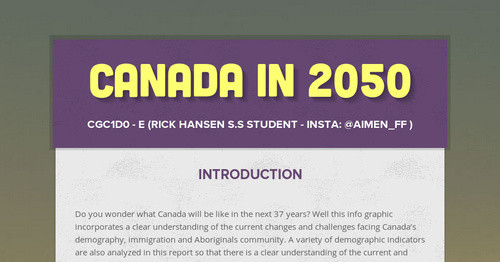 Canada In 2050 | Smore Newsletters