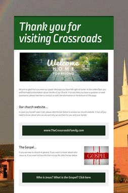 Thank you for visiting Crossroads