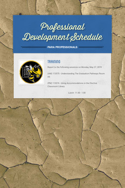 Professional Development Schedule