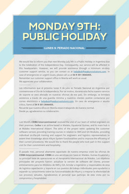 Monday 9th: Public Holiday