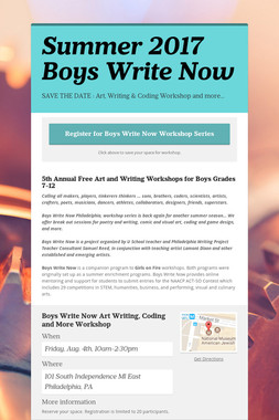 Summer 2017 Boys Write Now