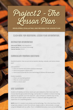 Project 2 - The Lesson Plan