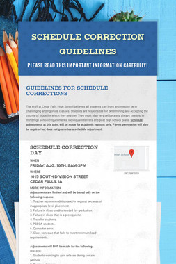 Schedule Correction Guidelines