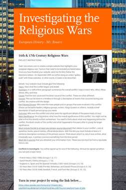 Investigating the Religious Wars