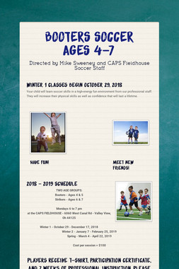 BOOTERS SOCCER  AGES 4-7