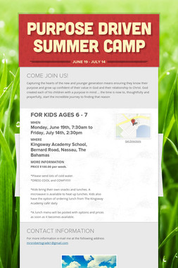 PURPOSE DRIVEN SUMMER CAMP