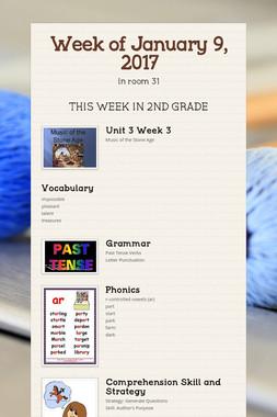 Week of January 9, 2017