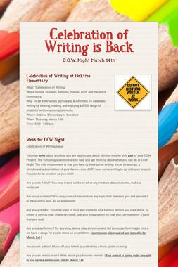 Celebration of Writing is Back