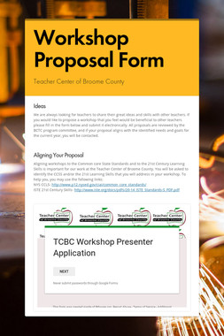 Workshop Proposal Form
