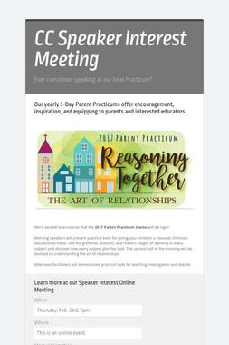 CC Speaker Interest Meeting