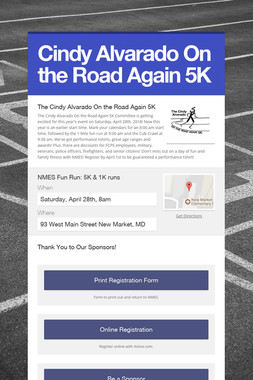 Cindy Alvarado On the Road Again 5K