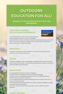 Outdoors education for all!