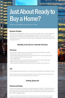 Just About Ready to Buy a Home?