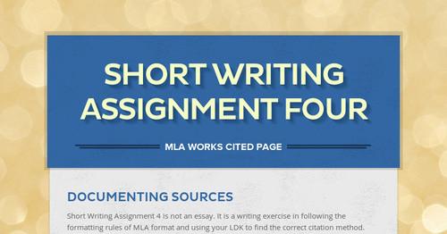 short writing assignment four