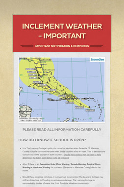 Inclement Weather - Important