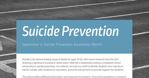 suicide prevention is impossible Welcome to the ohio state university suicide prevention i am so glad you have taken time to learn more about our program, and i encourage you to explore this website.