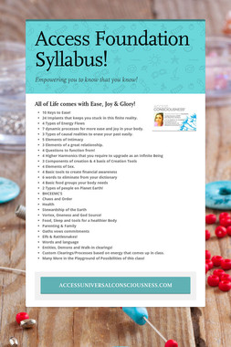 Access Foundation Syllabus!