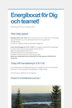 Energiboozt för Dig och teamet!