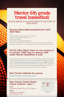 Mentor 6th grade travel basketball