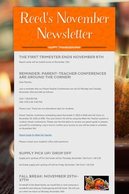 Reed's November Newsletter
