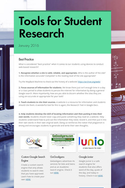 Tools for Student Research