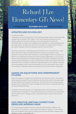 Richard J Lee Elementary GTi News!