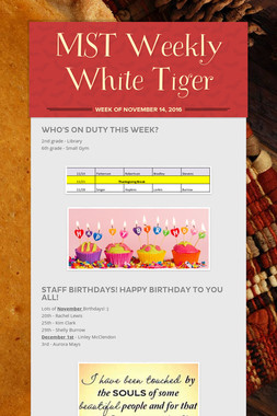 MST Weekly White Tiger