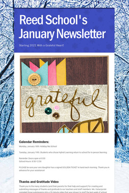 Reed School's January Newsletter
