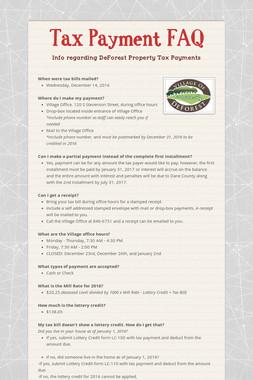 Tax Payment FAQ