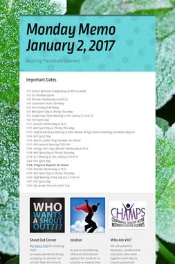 Monday Memo January 2, 2017