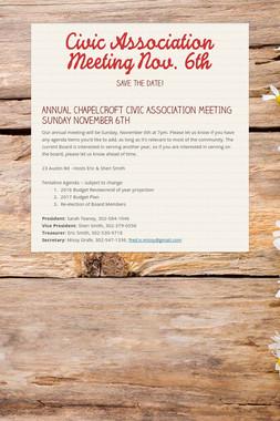 Civic Association Meeting Nov. 6th