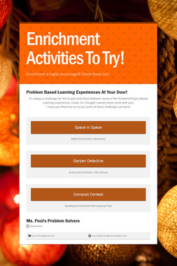 Enrichment Activities To Try!